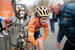 Karol-Ann Canuel (Boels Dolmans) shouldnt need to be worried about her tan lines on a day like today at the 124.2 km Omloop Het Nieuwsblad - Elite Women on February 25th 2017, starting and finishing in Gent, Belgium. (Photo by Sean Robinson/Velofocus)