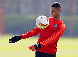MANCHESTER, ENGLAND - Wednesday, March 16, 2016: Manchester United's Marcus Rashford during a training session at Carrington Training Ground ahead of the UEFA Europa League Round of 16 2nd Leg match against Liverpool. (Pic by David Rawcliffe/Propaganda)