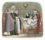 St Anselm (1033-1109) Italian-born Archbishop of Canterbury: Benedictine monk: Anselm reluctantly accepting Archbishopric (represented by Crozier) from William II (Rufus) of England, 1093.  Colour-printed wood engraving London 1864