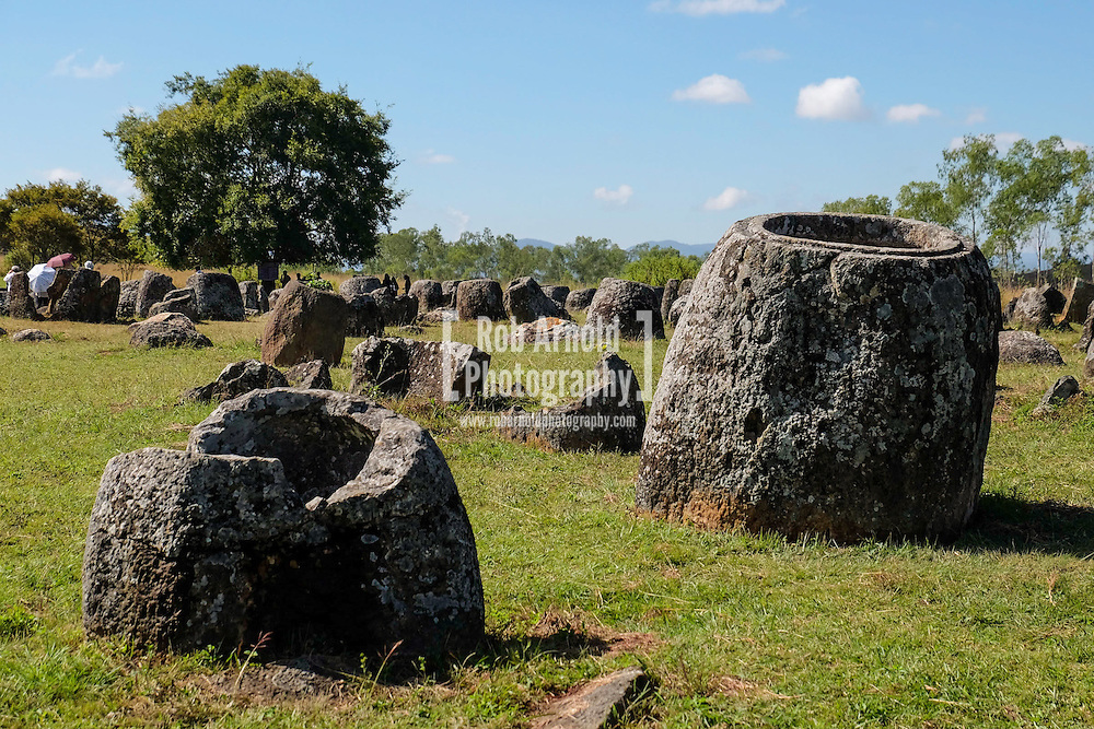 Stone 'Jars' on the mysterious Plain of Jars World Heritage Site near Phonsavan in northern Laos