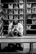 """Ryan Barry, 21, prays before entering the arena for his first fight of the contest. """"I find it calms and relaxes me,"""" he said. Barry won his first fight but lost his second the next night."""