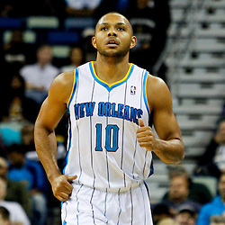 Jan 1, 2013; New Orleans, LA, USA; New Orleans Hornets shooting guard Eric Gordon (10) during the first quarter of a game against the Atlanta Hawks at the New Orleans Arena. Mandatory Credit: Derick E. Hingle-USA TODAY Sports