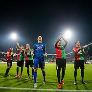 NIJMEGEN, NEC - ADO Den Haag, voetbal, Eredivisie seizoen 2015-2016, 03-10-2015, Stadion De Goffert, NEC spelers vieren de overwinning.