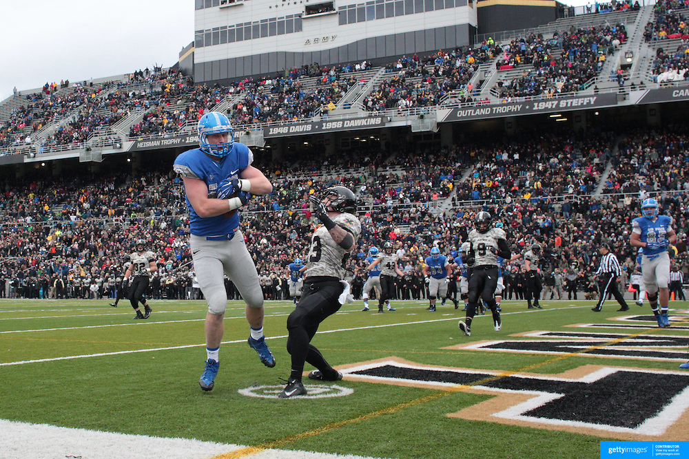 Garret Griffin, Air Force, scores the second of his two touchdowns, during the Army Black Knights Vs Air Force Falcons, College Football match at Michie Stadium, West Point. New York. Air Force won the game 23-6. West Point, New York, USA. 1st November 2014. Photo Tim Clayton