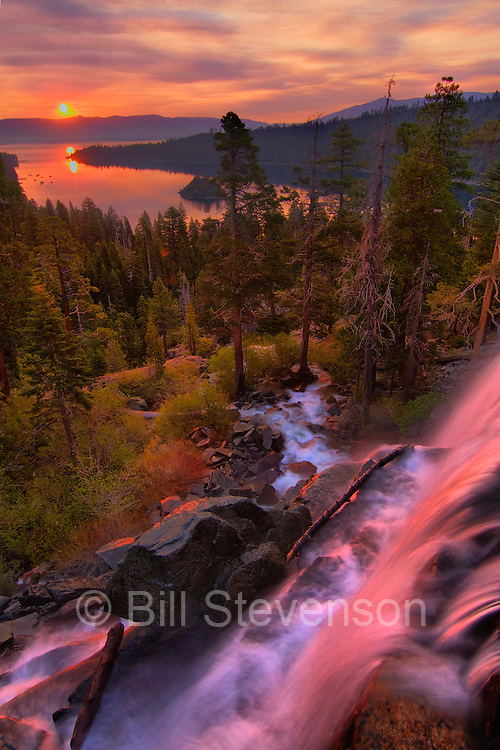 A photo of Eagle Falls and Emerald Bay during the Angora Fire. You might ask if the colors in this photo have been enhanced in Photoshop. Well, the reason for the intense color is the smoke from a forest fire filling the sky. Those are not clouds. Smoke refracts the sunlight in a different way creating unreal colors.