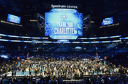February 17, 2019 - Charlotte, NC, USA - The scoreboard thanks the host city of Charlotte at the conclusion of the 2019 NBA All-Star 2019 game at Spectrum Center in Charlotte, N.C. on Sunday, February 17, 2019. (Credit Image: © David T. Foster Iii/Charlotte Observer/TNS via ZUMA Wire)