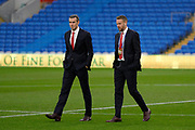 Wales forward Gareth Bale and Wales defender Chris Gunter before the Friendly match between Wales and Belarus at the Cardiff City Stadium, Cardiff, Wales on 9 September 2019.