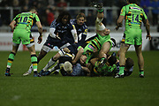 Marland Yarde looks for the ball during the Aviva Premiership match between Sale Sharks and Northampton Saints at the AJ Bell Stadium, Eccles, United Kingdom on 25 November 2017. Photo by George Franks.