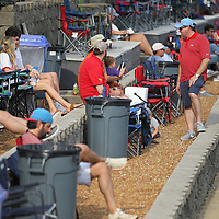 Ole Miss get a chance to chat between games Friday at Swayze Field as they wait for the Ole Miss Game against Jacksonville State.