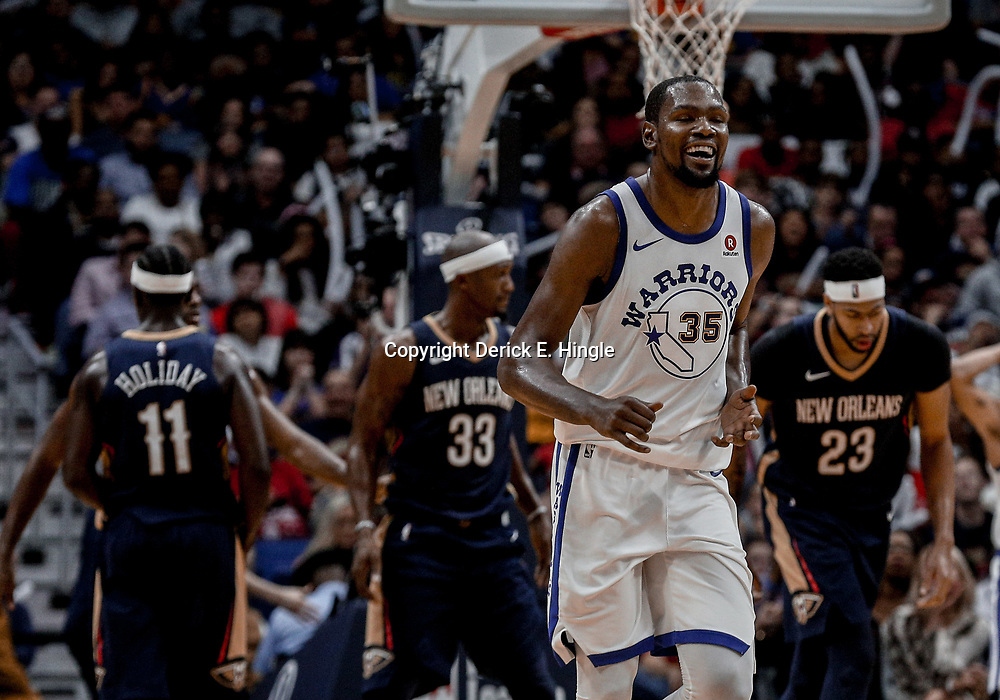 Oct 20, 2017; New Orleans, LA, USA; Golden State Warriors forward Kevin Durant (35) reacts during the second half of a game against the New Orleans Pelicans at the Smoothie King Center. The Warriors defeated the Pelicans 128-120.  Mandatory Credit: Derick E. Hingle-USA TODAY Sports