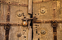 Detail of an old door inside Jaisalmer Fort, Rajasthan, India.