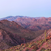 Sunset paints the mountains and valleys of the Hellsgate Wilderness Area, near Phoenix, Arizona