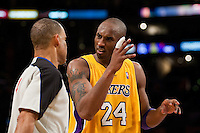 27 April 2010: Guard Kobe Bryant of the Los Angeles Lakers argues a call with NBA official Dan Crawford while playing against the Oklahoma Thunder during the second half of the Lakers 111-87 victory over the Thunder during game 5 of the first round of the NBA Playoffs at the STAPLES Center in Los Angeles, CA.