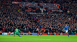 LIVERPOOL, ENGLAND - Tuesday, December 11, 2018: Liverpool's Sadio Mane sees his shot go wide during the UEFA Champions League Group C match between Liverpool FC and SSC Napoli at Anfield. (Pic by David Rawcliffe/Propaganda)