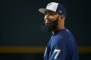 PHOENIX, AZ - JUNE 09:  Eric Thames #7 of the Milwaukee Brewers smiles during batting practice prior to the MLB game against the Arizona Diamondbacks at Chase Field on June 9, 2017 in Phoenix, Arizona. The Milwaukee Brewers won 8-6.  (Photo by Jennifer Stewart/Getty Images)