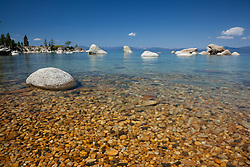 """Pebbles at Whale Beach 2"" - These pebbles were photographed along the shore of Whale Beach on the East shore of Lake Tahoe. Whale Rock can be seen in the distance."