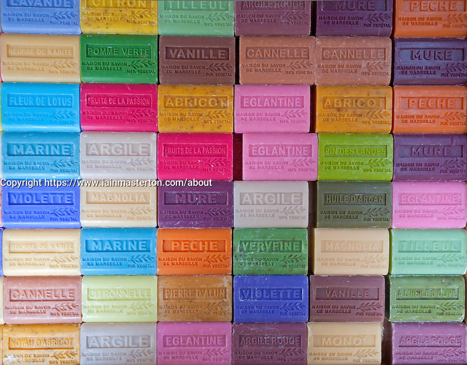 Detail of many coloured bars of soap at market in Paris France