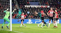 Tottenham Hotspur's Harry Kane (centre) has a chance on goal
