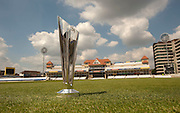 The trophy for the World Twenty20 pictured at Trent Bridge, Nottingham. Photo © Graham Morris (Tel: +44(0)20 8969 4192 Email: sales@cricketpix.com)