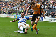 Andrew Robertson crosses ball blocked by James Perch  during the Sky Bet Championship match between Hull City and Queens Park Rangers at the KC Stadium, Kingston upon Hull, England on 19 September 2015. Photo by Ian Lyall.