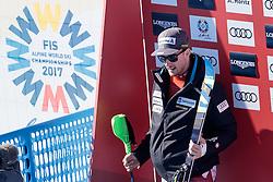 13.02.2017, St. Moritz, SUI, FIS Weltmeisterschaften Ski Alpin, St. Moritz 2017, alpine Kombination, Herren, Slalom, im Bild Luca Aerni (SUI, Herren Alpine Kombination Weltmeister und Goldmedaille) // men's Alpine Combined world Champion and Gold medalist Luca Aerni of Switzerland on leaderboard after his run of Slalom competition for the men's Alpine combination of the FIS Ski World Championships 2017. St. Moritz, Switzerland on 2017/02/13. EXPA Pictures © 2017, PhotoCredit: EXPA/ Johann Groder
