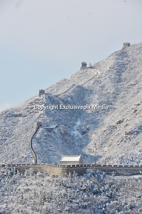 BEIJING, CHINA - NOVEMBER 22: (CHINA OUT) <br /> <br /> Snow Falls On The Great Wall of China<br /> <br /> Snow falls on the Juyongguan Great Wall in Changping District on November 22, 2015 in Beijing, China. Snow fell in Beijing, Tianjin, Jilin and other places in North China on Sunday. <br /> &copy;Exclusivepix Media