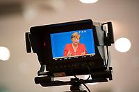 DEU, Deutschland, Germany, Berlin, 19.07.2019: Bundeskanzlerin Dr. Angela Merkel (CDU) auf einem Display einer Kamera bei der jährlichen Sommerpressekonferenz in der Bundespressekonferenz.
