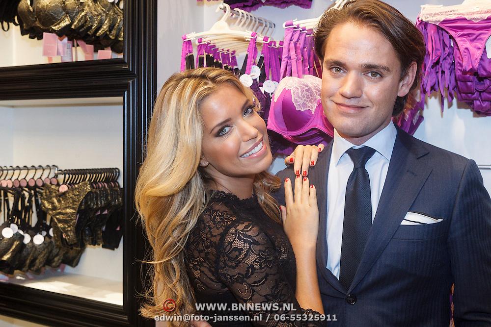 NLD/Amsterdam/20131107- Sylvie Meis, Sylvie van der Vaart-Meis opent nieuwe vestiging van Hunkemoller, Sylvie Meis en broer Daniel