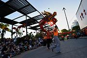 20180210/ Nicolas Celaya - adhocFOTOS/ URUGUAY/ MONTEVIDEO/ PLAZA LIBER SEREGNI/ Integrantes de la Escuela Uruguaya Shaolin Chuan interpretan la Danza del Drag&oacute;n durante las celebraciones del a&ntilde;o nuevo Chino en la plaza Liber Seregni.<br /> En la foto: Integrantes de la Escuela Uruguaya Shaolin Chuan interpretan la Danza del Drag&oacute;n durante las celebraciones del a&ntilde;o nuevo Chino en la plaza Liber Seregni.  Foto: Nicol&aacute;s Celaya /adhocFOTOS