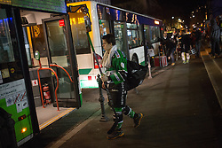 23.12.2014, Hala Tivoli, Ljubljana, SLO, EBEL, HDD Telemach Olimpija Ljubljana vs Dornbirner EC, 29. Runde, in picture Aljaz Uduc (HDD Telemach Olimpija, #41) goes on the bus during the Erste Bank Icehockey League 30. Round between HDD Telemach Olimpija Ljubljana and Dornbirner Eishockey Club at the Republic Square, Ljubljana, Slovenia on 2014/12/23. Photo by Morgan Kristan / Sportida