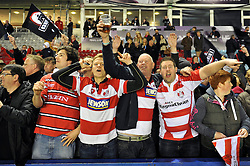 Gloucester Rugby supporters celebrate at the final whistle - Photo mandatory by-line: Patrick Khachfe/JMP - Mobile: 07966 386802 01/05/2015 - SPORT - RUGBY UNION - London - The Twickenham Stoop - Edinburgh Rugby v Gloucester Rugby - European Rugby Challenge Cup Final