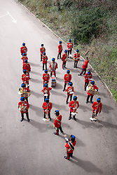 © London News Pictures. 18/04/2013. The band prepare to enter the parade ground at Invicta Park Barracks, Maidstone Kent. Around 300 members of the Operation Herrick 17 Explosive Ordnance Disposal and Search Task Force receive the Afghanistan Campaign Medal at a ceremony in Maidstone.today 18/04/13.  The ceremony took place at Invicta Park barracks, home to 36 Engineers Regiment (Search), which was the lead element in the task force.  Picture credit should read Manu Palomeque/LNP