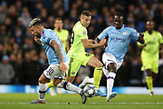 Dinamo Zagreb midfielder Mislav Orsic (99) goes round Manchester City defender Nicolas Otamendi (30) during the Champions League match between Manchester City and Dinamo Zagreb at the Etihad Stadium, Manchester, England on 1 October 2019.