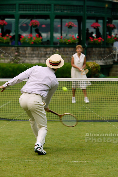 Grass court tennis played on the inner court at the Newport Tennis Hall of Fame.