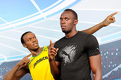 Sprinting superstar and Olympic gold medalist, Usain Bolt, saw double today (Saturday July 27, 2013) when he came face-to-face with his Madame Tussauds wax figure at the British Athletics Sainsbury's Anniversary Games.<br /> London. Britain<br /> Saturday, July 27, 2013<br /> Picture by i-Images<br /> UK ONLY