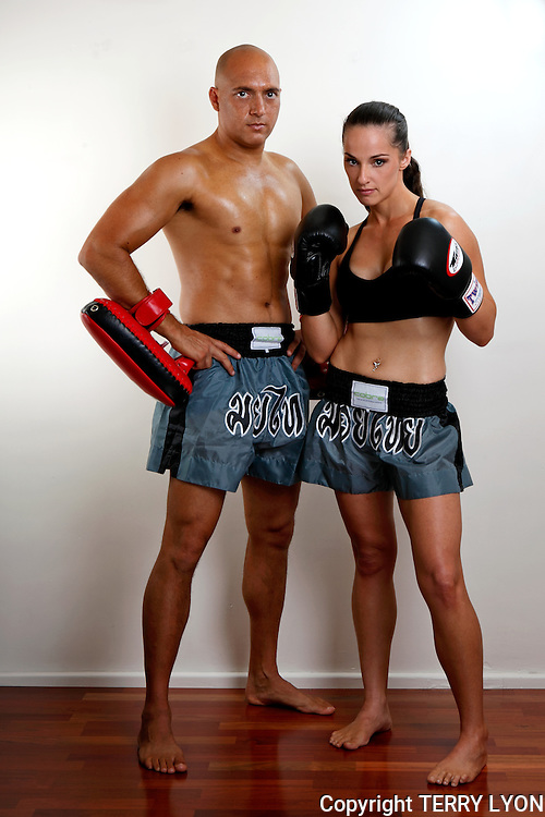 Clair and Craig Cobra Martial Arts promotional photo shoot, Cottesloe studio and beach.