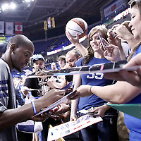 12 June 2012: Oklahoma City Thunder small forward Kevin Durant (35) signs autographs prior to Game 1 of the 2012 NBA Finals between the Heat and the Thunder, at the Chesapeake Energy Arena, Oklahoma City, Oklahoma, USA.