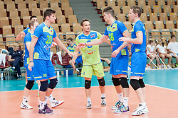 Players of Slovenia during volleyball match between National Teams of Slovenia and FRY Macedonia of 2014 CEV Volleyball European League Man - Pool B, on July 5, 2014, in Arena Ljudski vrt Lukna, Maribor, Slovenia, Slovenia. Photo by Urban Urbanc / Sportida