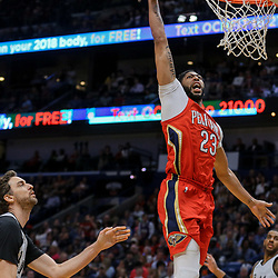 Apr 11, 2018; New Orleans, LA, USA; New Orleans Pelicans forward Anthony Davis (23) dunks over San Antonio Spurs center Pau Gasol (16) during the second quarter at the Smoothie King Center. Mandatory Credit: Derick E. Hingle-USA TODAY Sports
