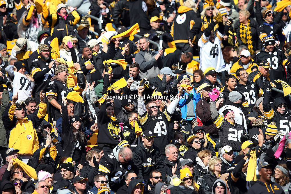 Pittsburgh Steelers fans cheer and wave terrible towels after the Arizona Cardinals miss a second quarter field goal attempt during the 2015 NFL week 6 regular season football game against the Arizona Cardinals on Sunday, Oct. 18, 2015 in Pittsburgh. The Steelers won the game 25-13. (©Paul Anthony Spinelli)