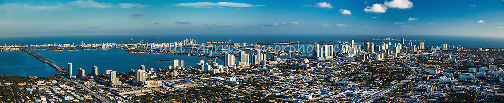 Panorama of Downtown Miami, Edgewater, and Midtown from the air looking east
