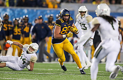 Oct 25, 2018; Morgantown, WV, USA; West Virginia Mountaineers tight end Trevon Wesco (88) catches a pass and runs for extra yards during the third quarter against the Baylor Bears at Mountaineer Field at Milan Puskar Stadium. Mandatory Credit: Ben Queen-USA TODAY Sports