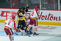 REGINA, SK - MAY 22:  Evan Fitzpatrick #31 of Acadie-Bathurst Titan makes a save against the Hamilton Bulldogs at Brandt Centre - Evraz Place on May 22, 2018 in Regina, Canada. (Photo by Marissa Baecker/Getty Images)