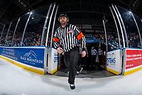 KELOWNA, CANADA - FEBRUARY 17:  Referee Reagan Vetter enters the ice at the Kelowna Rockets against the Edmonton Oil Kings on February 17, 2018 at Prospera Place in Kelowna, British Columbia, Canada.  (Photo by Marissa Baecker/Shoot the Breeze)  *** Local Caption ***