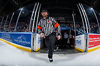 KELOWNA, CANADA - FEBRUARY 17:  Referee Reagan Vetter enters the ice at the Kelowna Rockets against the Edmonton Oil Kings on February 17, 2018 at Prospera Place in Kelowna, British Columbia, Canada.  (Photo by Marissa Baecker/Shoot the Breeze)  *** Local Caption ***