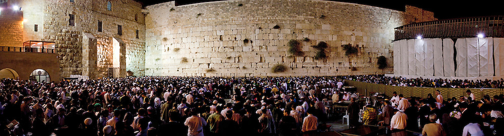 Israel, Jerusalem, Wailing Wall, Stitched Panorama of Jews during Selichot prayers. Selichot (Selihot?) are Jewish penitential poems and prayers, especially those said in the period leading up to the High Holidays,