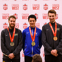 Alexander Eiswerth and Greg Hetterley are awarded silver and bronze respectively at the 2018 Canada West Track & Field Championship on February  23 at James Daly Fieldhouse. Credit: Arthur Ward/Arthur Images