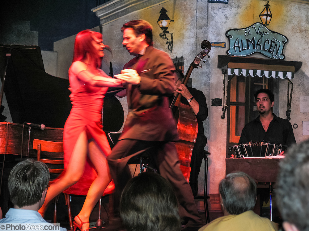 "Artists perform at El Viejo Almacen, a well known tango dance performance hall in San Telmo (""Saint Pedro González Telmo""), the oldest barrio (neighborhood) of Buenos Aires, in Argentina, South America."
