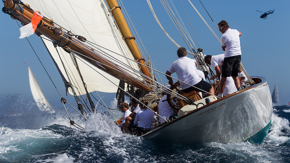 "FRANCE, St Tropez. 3rd October 2012. Voiles de St Tropez. ""Moonbeam III"", built 1903 and designed by William Fife III."
