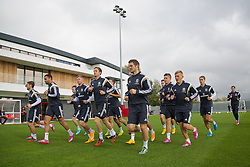 NEWPORT, WALES - Wednesday, October 8, 2014: Wales' Hal Robson-Kanu, Simon Church, Andy King, Sam Ricketts, George Williams and David Edwards training at Dragon Park National Football Development Centre ahead of the UEFA Euro 2016 qualifying match against Bosnia and Herzegovina. (Pic by David Rawcliffe/Propaganda)